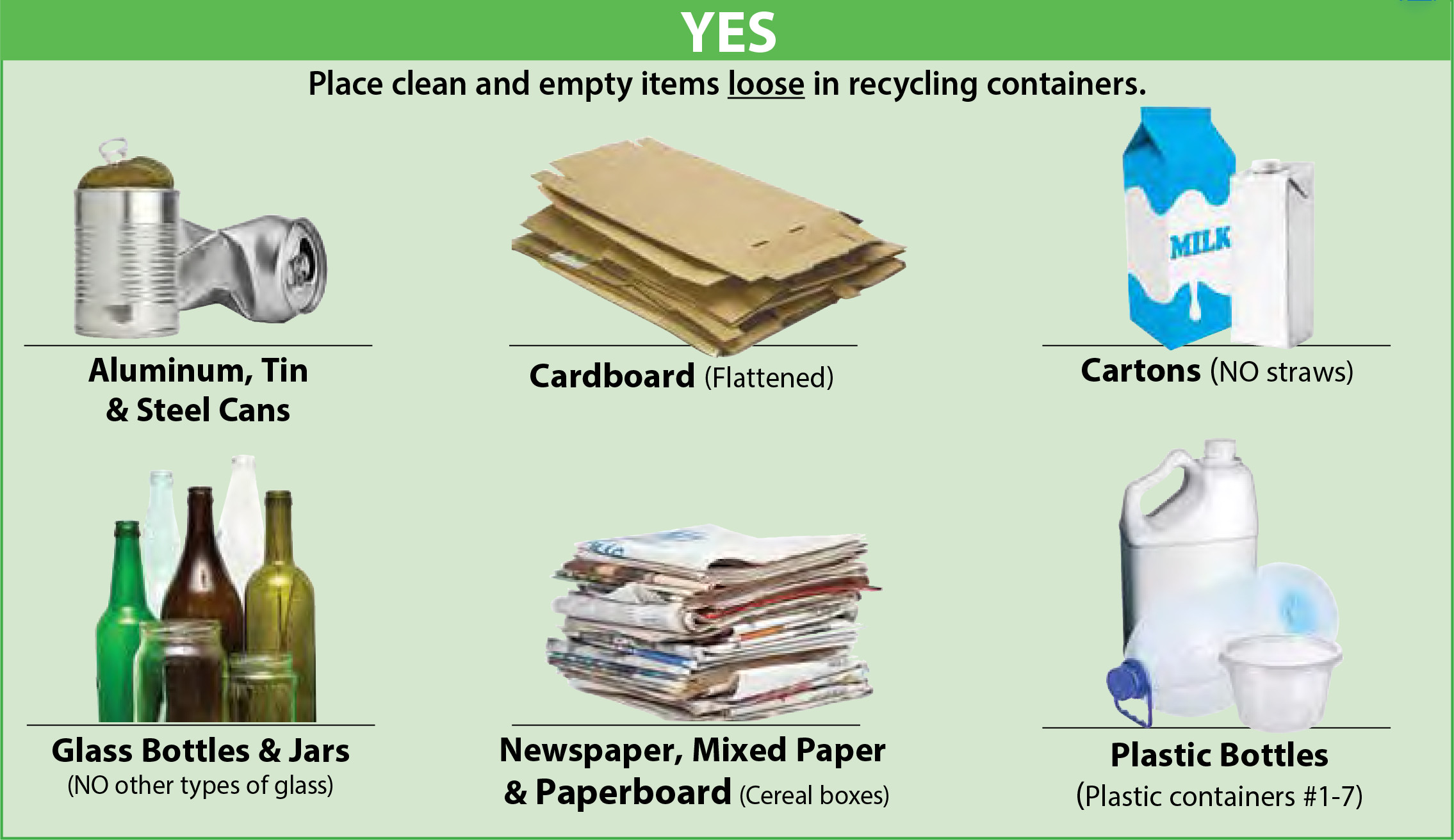 Items that you can recycle are: Aluminum, Tin & Steel Cans; Cardboard (flattened); Cartons (NO Straws); Glass Bottles & Jars (NO other types of glass); Newspaper, Mixed Paper & Paperboard (Cereal Boxes); Plastic Bottles (Plastic containers  #1-70). Place clean and empty items loose in recycling containers.